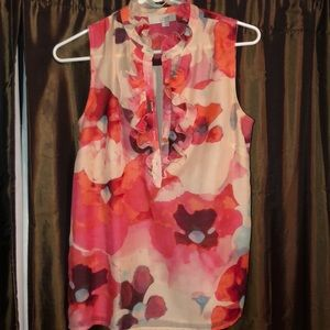 Once worn Loft sleeveless floral blouse